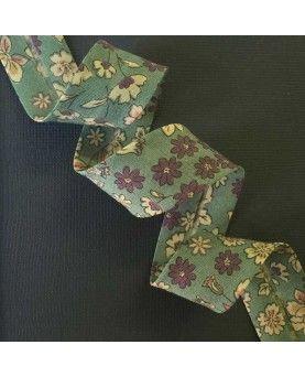 Skråbånd blomstret - Grøn - 20mm