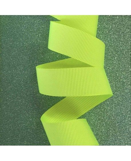 Grosgrain bånd neon gult 15mm