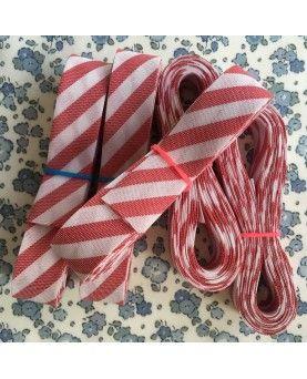 Skråbånd bred stribe - rød/hvid - 3 meter