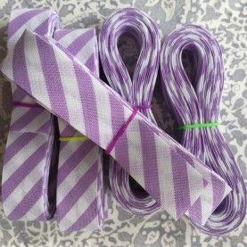 Skråbånd bred stribe - lilla/hvid - 3 meter