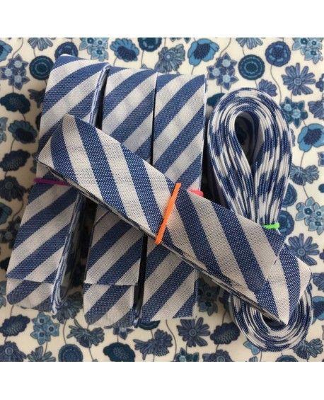 Skråbånd bred stribe - blå - 3 meter