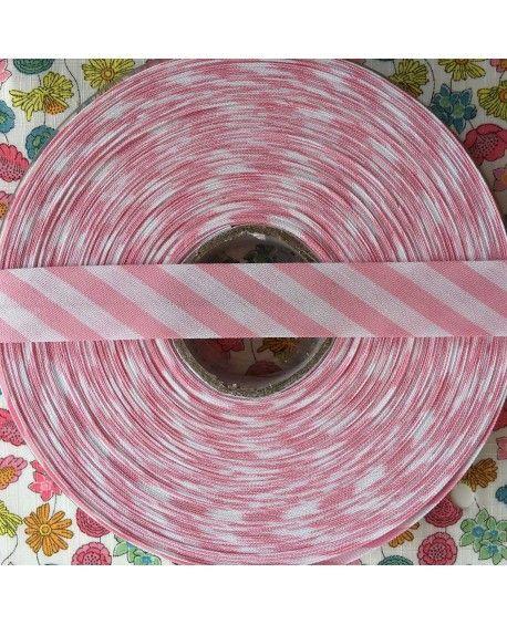 Skråbånd bred stribe - lyserød - 1 rulle