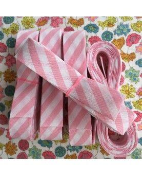Skråbånd bred stribe - lyserød - 3 meter